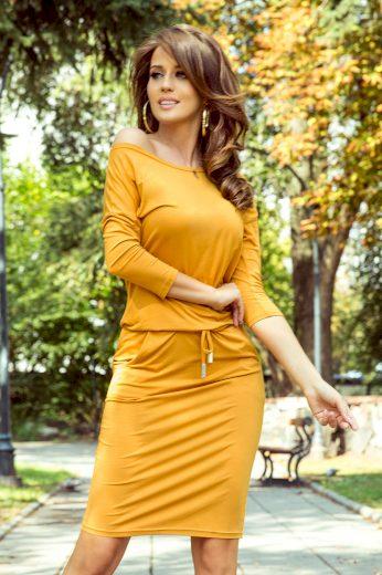 Glara Pohodlné úpletové šaty s kapsami 690081
