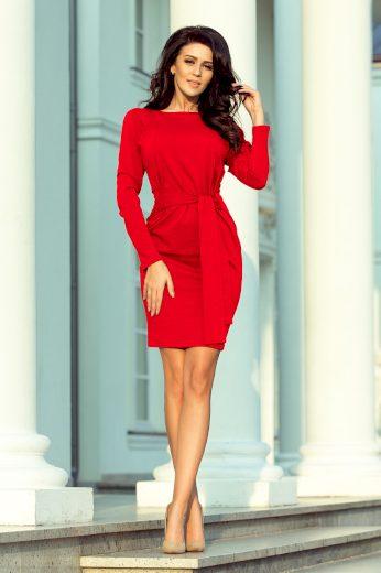 Glara Jednobarevné bavlněné dámské šaty s rukávem 670663
