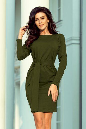 Glara Jednobarevné bavlněné dámské šaty s rukávem 670675