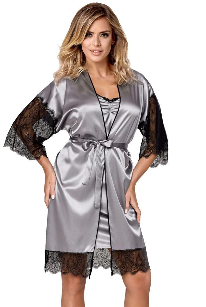 Hamana Luxusní dámský saténový župan Escora šedý