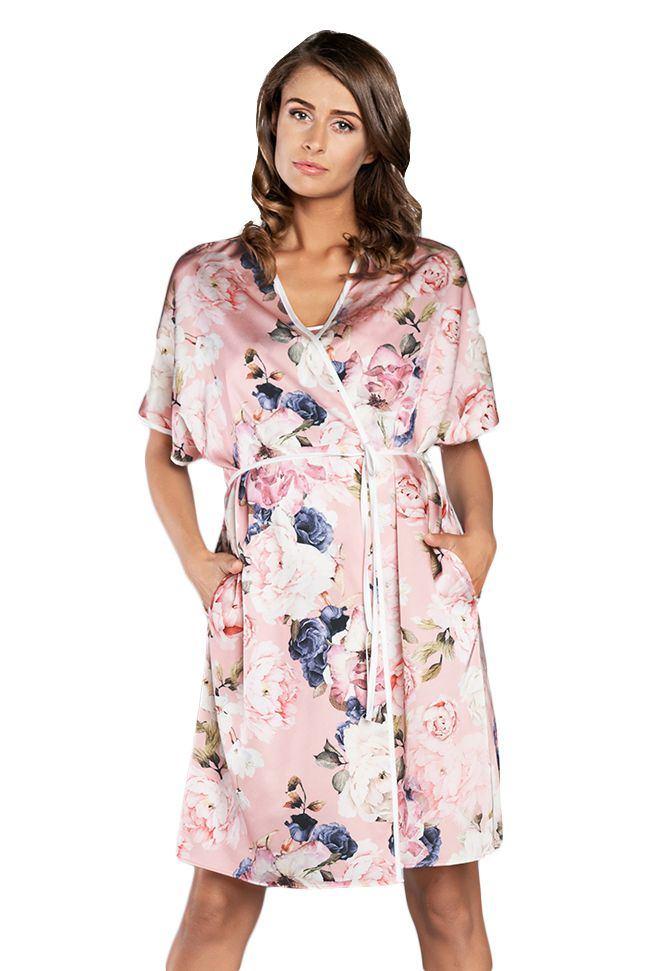 Italian Fashion Dámský saténový župan Sardinie růžový s květy