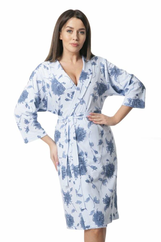 Dorota Dámský bavlněný župan Sunny modré květiny