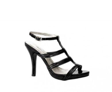 Andrea Conti Lakované páskové letní sandálky Andrea Conti v černé barvě