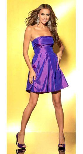 Laura Scott LAURA SCOTT EVENING taftové koktejlové společenské šaty fialové