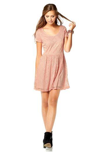 AJC AJC romantické krajkové šaty ve starorůžové barvě, společenské šaty krátké