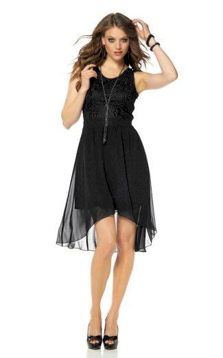 Laura Scott Evening LAURA SCOTT EVENING koktejlové dámské společenské šaty, společenské šaty černé s krajkou
