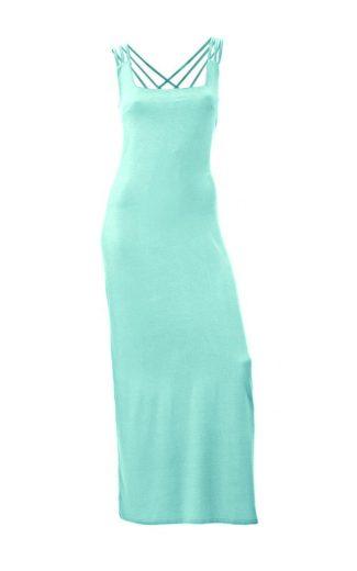 MANDARIN  MANDARIN letní maxi šaty, dlouhé aqua úzké šaty