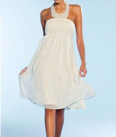 Apart Svatební šaty APART v krémové barvě ze šifonu se saténovou spodničkou