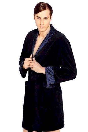 Wanmar Luxusní pánský župan Bonjour temně modrý krátký