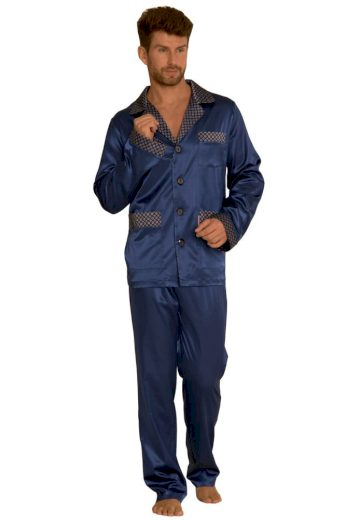 De Lafense Saténové pánské pyžamo Adam tmavě modré