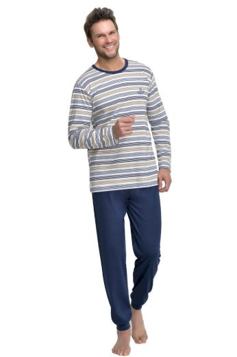 Taro Dlouhé pánské pyžamo Max modré