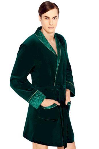 Wanmar Luxusní pánský župan Bonjour temně zelený krátký