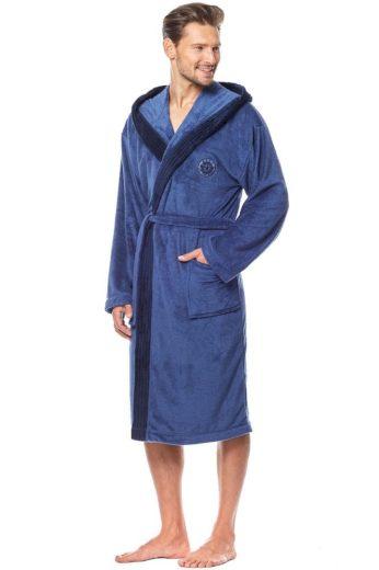 L&L Pánský dlouhý župan George 2 modrý