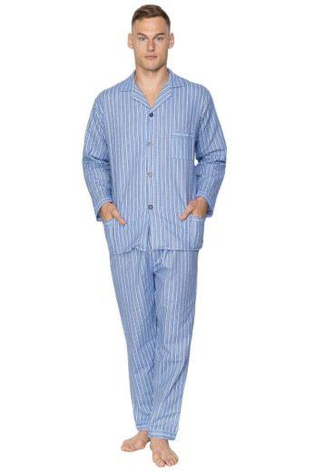 Kuba Pánské flanelové pyžamo Arnold modré