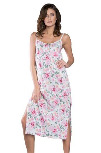 Italian Fashion Dlouhá noční košile na ramínka Peony  květiny