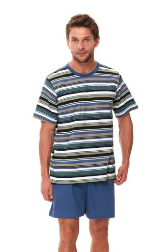 DN Nightwear Pánské krátké pyžamo Viktor s pruhy