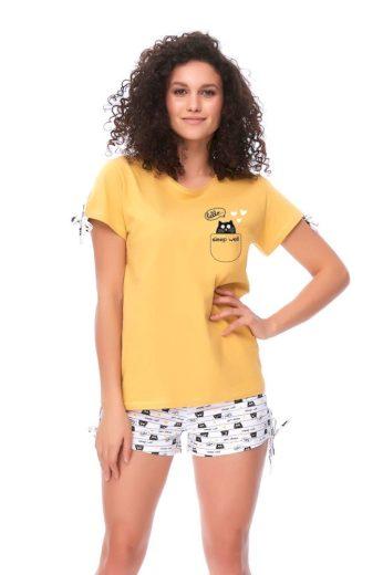 DN Nightwear Dámské pyžamo Hello Cat žluté