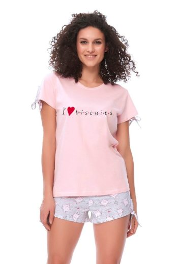 DN Nightwear Dámské pyžamo Biscuits růžové