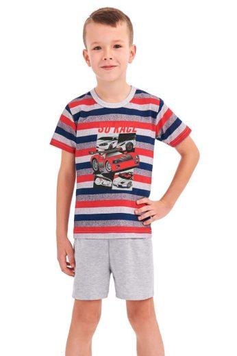 Taro Chlapecké pyžamo Max červené proužky