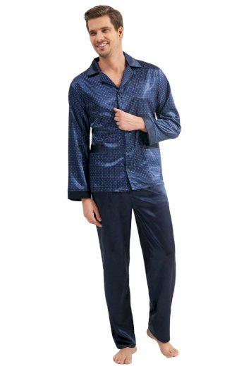 Luna Pánské saténové pyžamo Charles modré