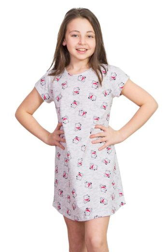 Vienetta Secret Dívčí noční košile Lucky Bear méďa šedá