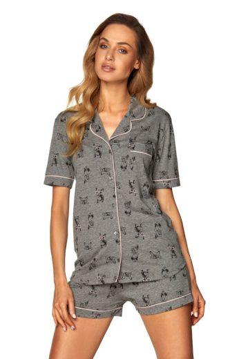 Rössli Dámské propínací pyžamo Corina šedé buldok