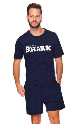DN Nightwear Pánské pyžamo Shark tmavě modré