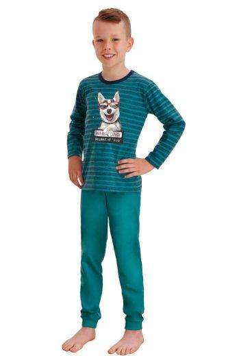 Taro Dlouhé chlapecké pyžamo Max zelené