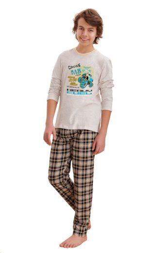 Taro Chlapecké pyžamo Leo cross béžové