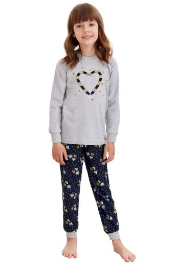 Taro Dětské pyžamo Ada šedé s vánočními paličkami