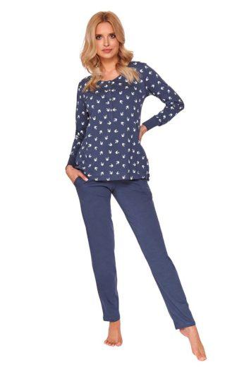 DN Nightwear Dámské pyžamo Cali tmavě modré s vlaštovkami