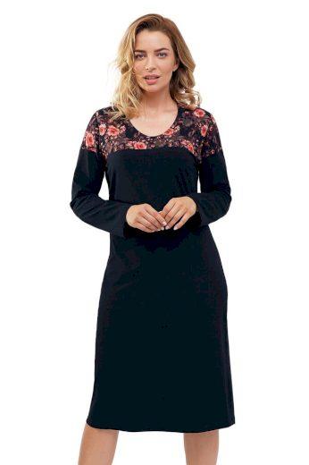 Cana Noční košilka 868 Zuzana černá s květy