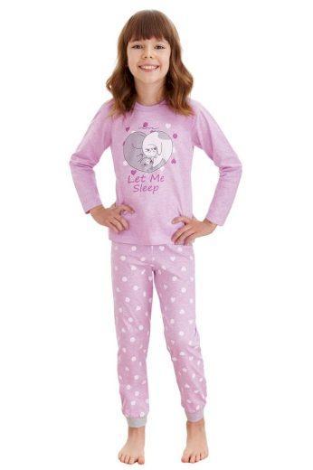 Taro Dívčí pyžamo Elza fialové kočky