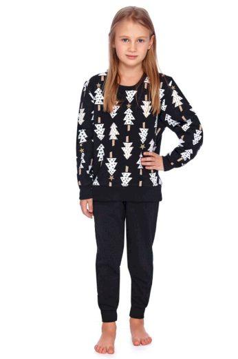 DN Nightwear Dětské pyžamo Zuna černé se stromečky
