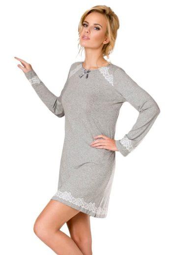 Passion Luxusní dámská noční košilka Naomi šedá s krajkou