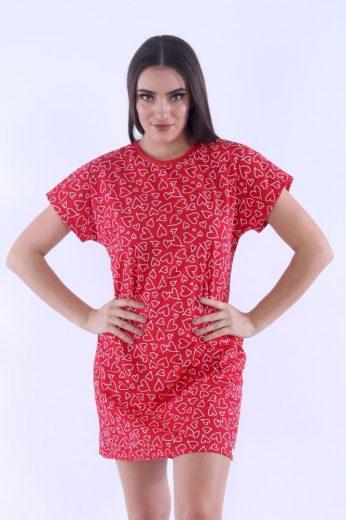 Nelly Dámská noční košile Zuzi červená se srdíčky