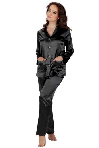 De Lafense Dámské saténové pyžamo Classic dlouhé černé