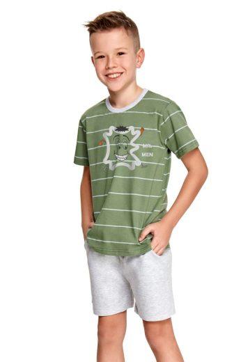 Taro Chlapecké pyžamo Karlík zelené s pruhy
