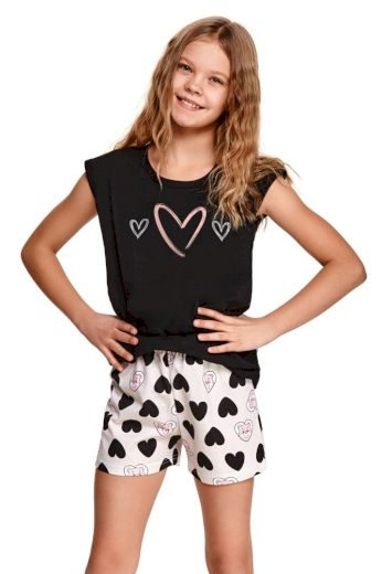 Taro Dívčí pyžamo Eva černé se srdíčky