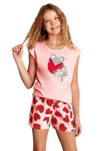 Taro Dívčí pyžamo Eva růžové se srdíčkem