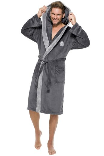 L&L Pánský dlouhý župan George tmavě šedý