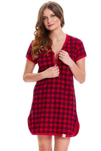 DN Nightwear Mateřská noční košile Liv červená kostkovaná