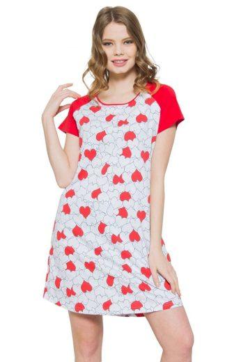 Vienetta Secret Noční košile Ina srdíčka červená
