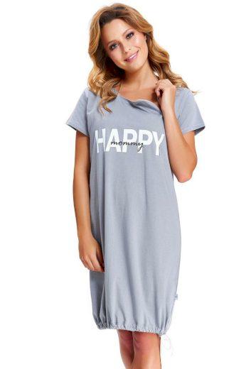 DN Nightwear Mateřská noční košile Happy Mommy šedá zip