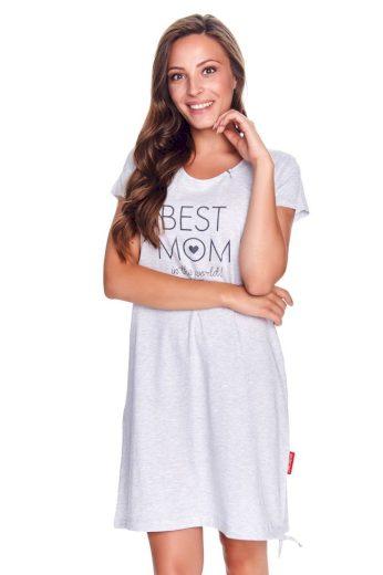 DN Nightwear Mateřská noční košile Best mom šedý melír