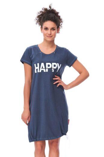 DN Nightwear Mateřská noční košile Happy mommy tmavě modrá se zipem