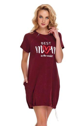 DN Nightwear Mateřská noční košile Best mom 2 vínová