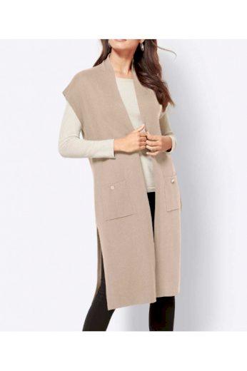 Dlouhá pletená vesta s modalem, Création L (vel.40 skladem)