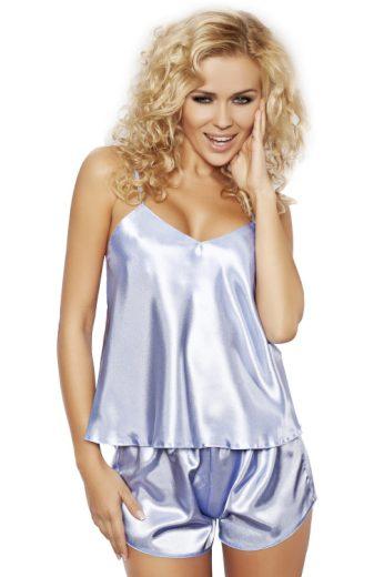 Saténové pyžamo Karen světle modré