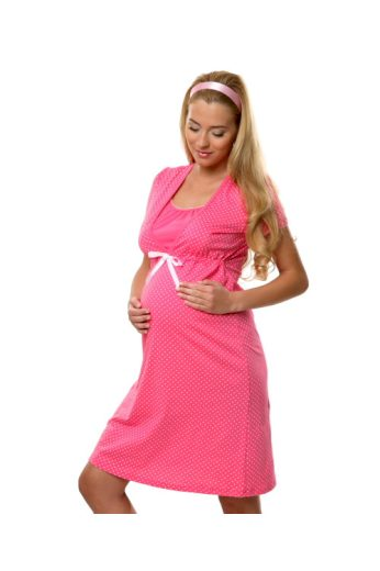 Bavlněná těhotenská noční košile Alena růžová